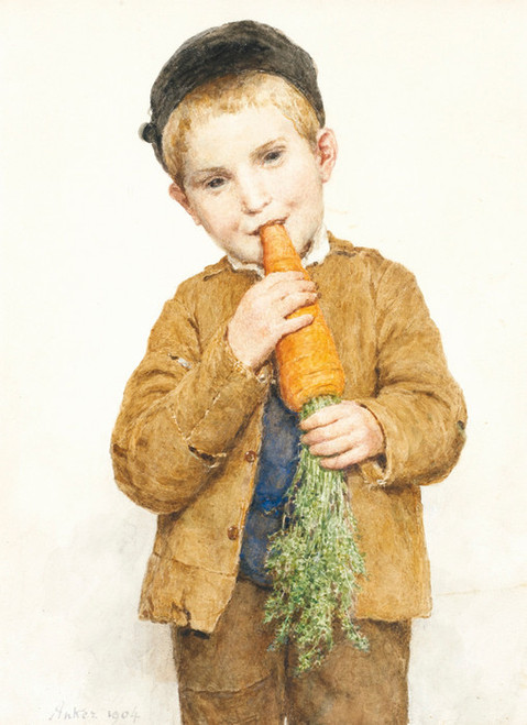 Art Prints of Little Boy with the Big Carrot, 1904 by Albert Anker