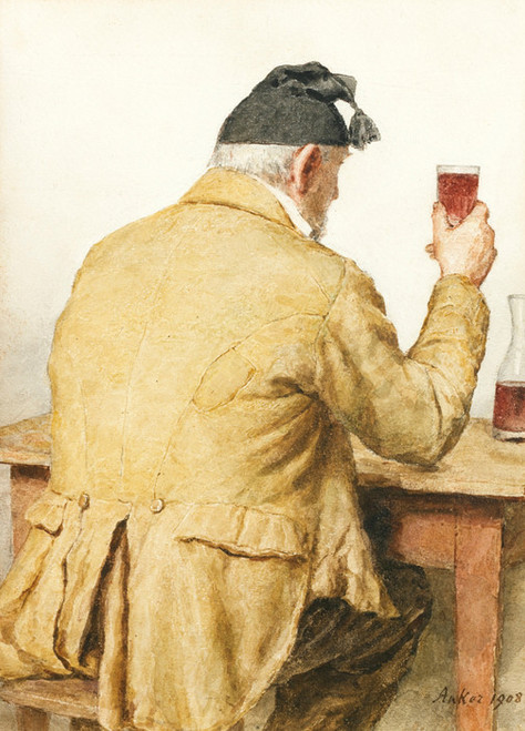 Art Prints of Old Man Sitting at a Table, 1908 by Albert Anker