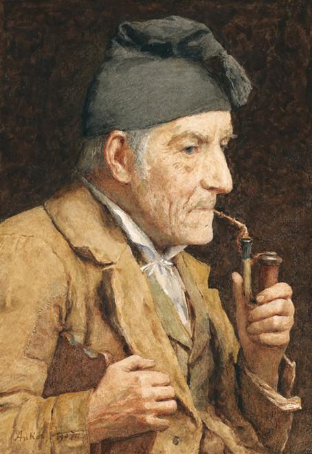 Art Prints of Old Man Smoking His Pipe, 1907 by Albert Anker