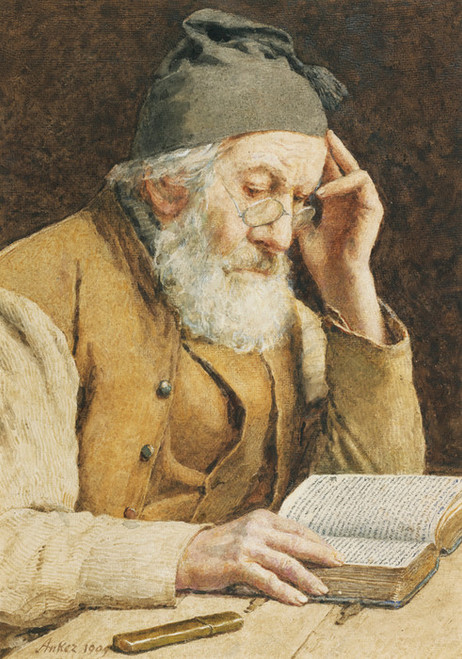 Art Prints of Old Man Reading, 1909 by Albert Anker