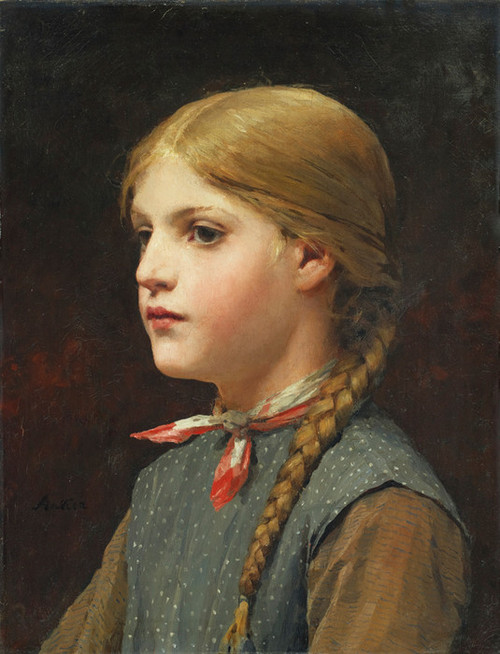 Art Prints of Portrait of a Girl with Braids by Albert Anker