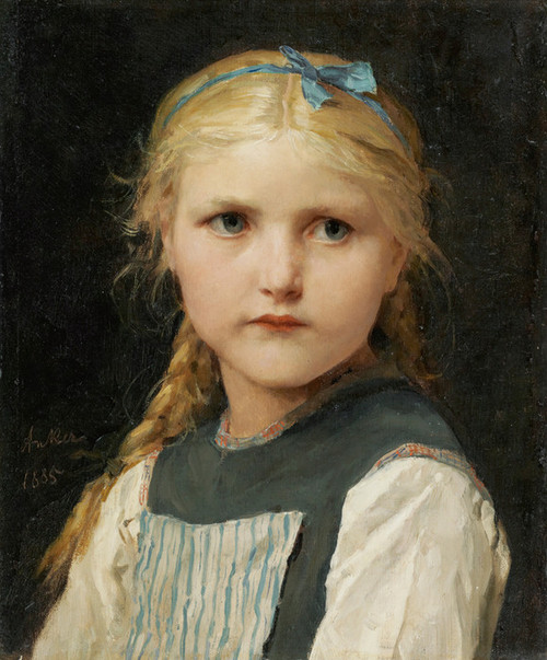Art Prints of Portrait of a Girl, 1885 by Albert Anker