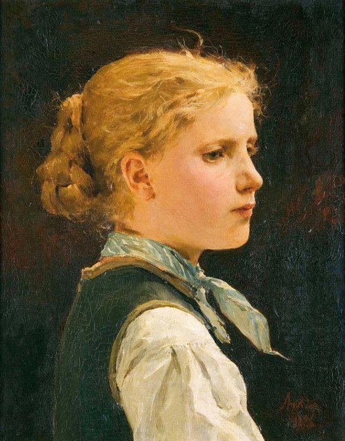 Art Prints of Portrait of a Girl, 1886 by Albert Anker