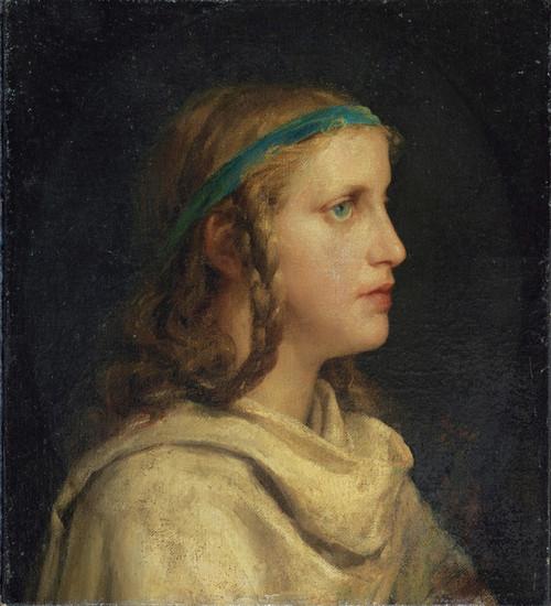 Art Prints of Portrait of a Girl in Profile, 1871 by Albert Anker