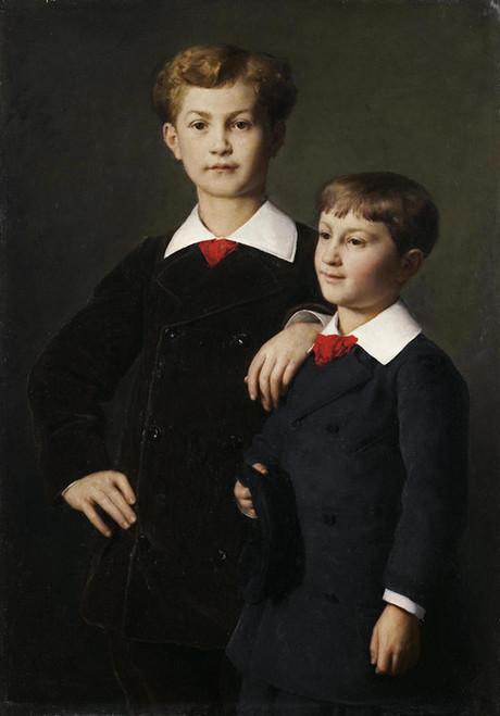 Art Prints of Portrait of the Chretien Sons, 1880 by Albert Anker
