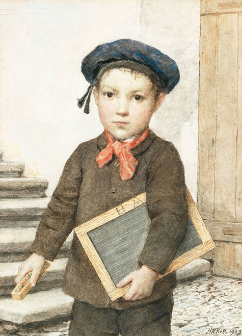 Art Prints of Schoolboy with Slate, 1909 by Albert Anker