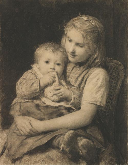 Art Prints of Sibling Love by Albert Anker
