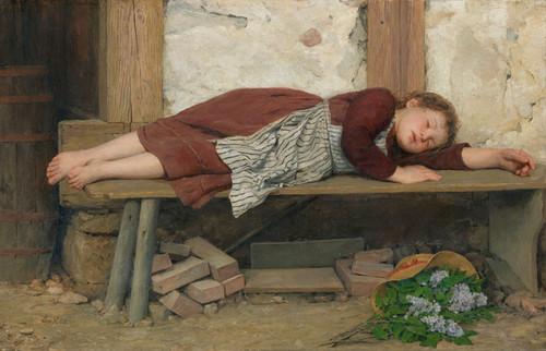 Art Prints of Sleeping Girl on a Wooden Bench by Albert Anker