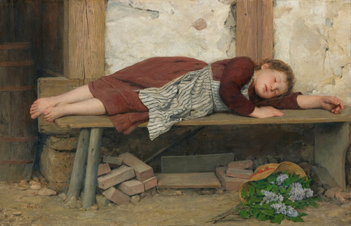 Art Prints of Sleeping Girl on a Wooden Bench by Albert Anker