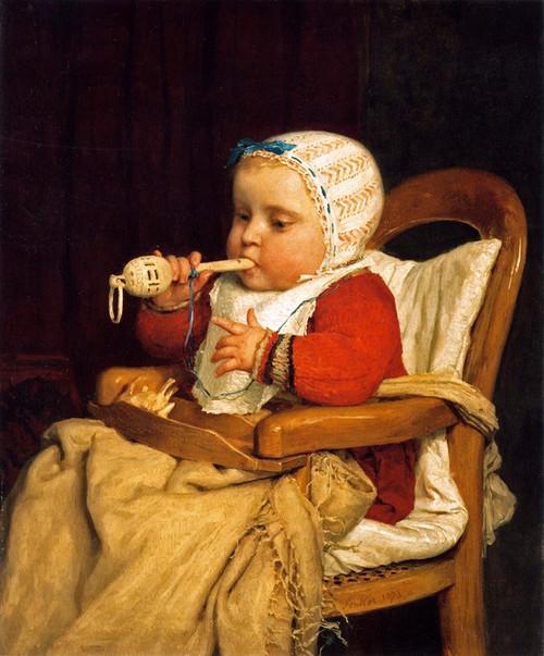 Art Prints of The Little Musician by Albert Anker