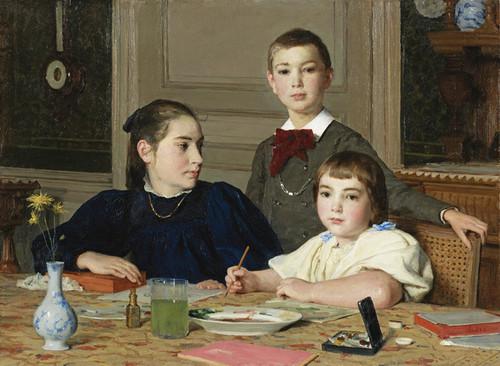 Art Prints of The Siblings, 1896 by Albert Anker