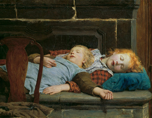 Art Prints of Two Girls on the Stove Bench by Albert Anker