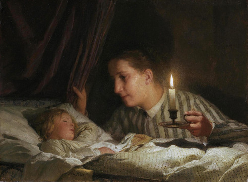 Art Prints of Young Mother Watching Her Sleeping Child by Candelight by Albert Anker