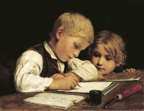 Art Prints of Writing Boy and Sister by Albert Anker