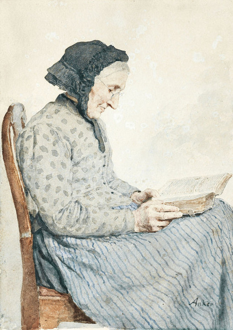 Art Prints of Woman Reading in Her Bible by Albert Anker