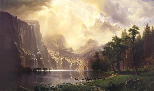 Art Prints of Among the Sierra Nevada Mountains by Albert Bierstadt