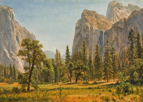 Art Prints of Bridal Veil Falls, Yosemite Valley, California by Albert Bierstadt