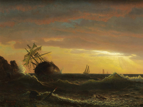 Art Prints of Beached Ship by Albert Bierstadt