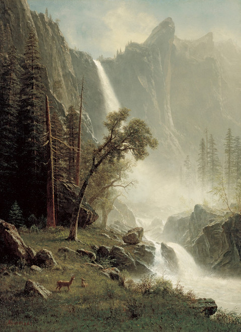 Art Prints of Bridal Veil Falls Yosemite by Albert Bierstadt