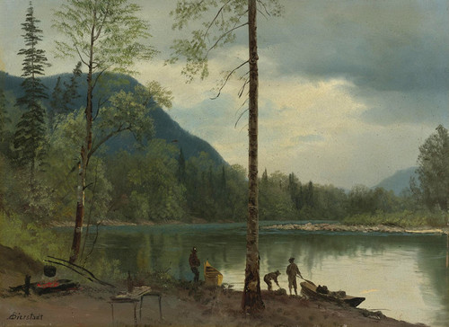 Art Prints of Campers with Canoes by Albert Bierstadt