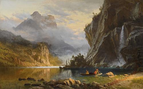 Art Prints of Indians Spear Fishing by Albert Bierstadt