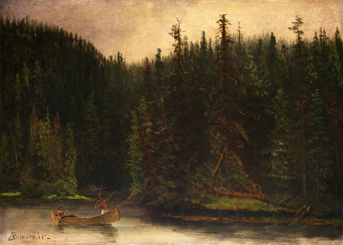 Art Prints of Indian Hunters in a Canoe by Albert Bierstadt