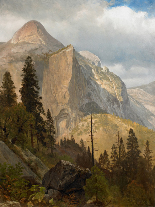 Art Prints of North Dome, Yosemite Valley by Albert Bierstadt