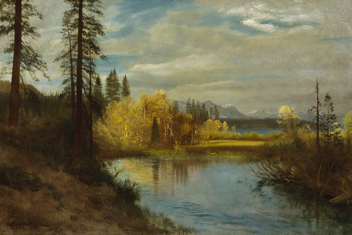 Art Prints of Outlet at Lake Tahoe by Albert Bierstadt