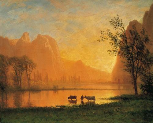 Art Prints of Sundown at Yosemite by Albert Bierstadt