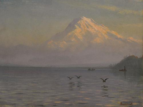Art Prints of View of Mount Rainier with Fishermen by Albert Bierstadt