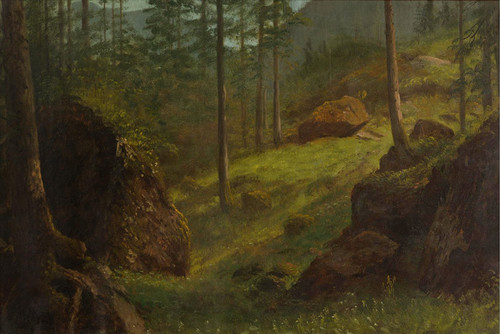 Art Prints of Wooded Hillside by Albert Bierstadt