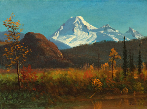 Art Prints of Mt. Baker from the Fraser River, 1890 by Albert Bierstadt