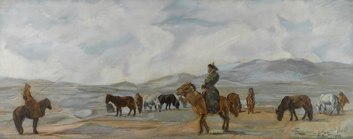Art Prints of Mongolian Horsemen by Alexander Evgenievich Yakovlev
