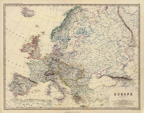 Art Prints of Europe, 1861 (0373003) by Alexander Keith Johnston