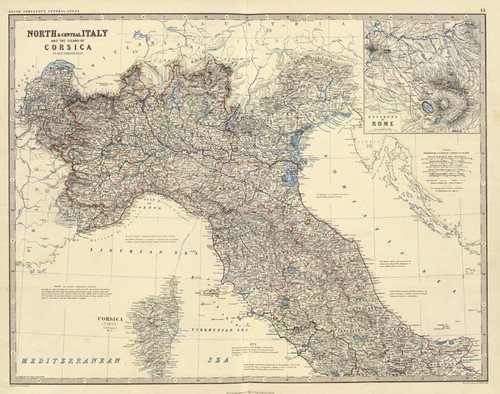 Art Prints of North Central Italy (0373015) by Alexander Keith Johnston