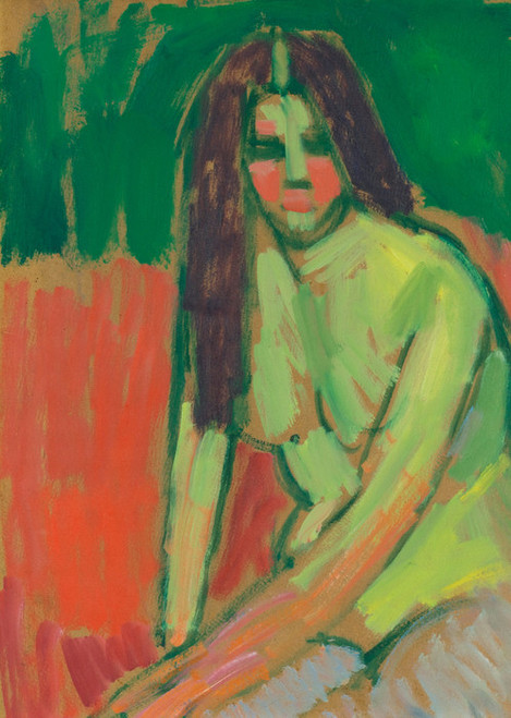Art Prints of Half Nude Figure with Long Hair, Sitting Bent by Alexej Von Jawlensky