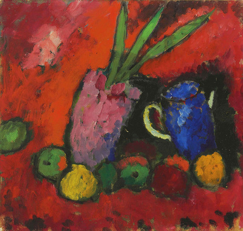 Art Prints of Still Life with Hyacinth, Blue Jug and Apples by Alexej Von Jawlensky
