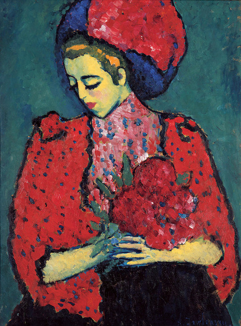 Art Prints of Young Girl with Peonies by Alexej Von Jawlensky