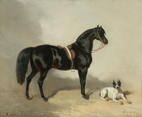 Art Prints of An Arab Horse and Bulldog by Alfred de Dreux