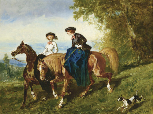 Art Prints of Amazon in Black and Young Amazon in White by Alfred de Dreux