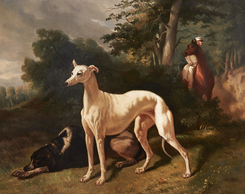 Art Prints of Hounds in a Wooded Landscape by Alfred de Dreux