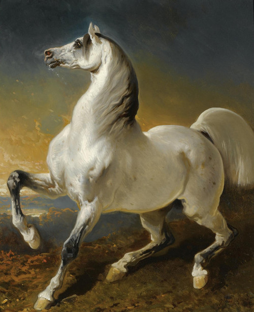 Art Prints of Gray Stallion Frightened by the Storm by Alfred de Dreux