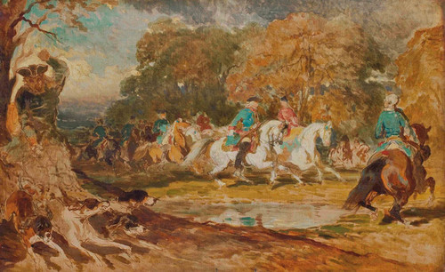 Art Prints of Hunting Under Louis XV, Sketch by Alfred de Dreux