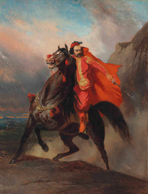 Art Prints of Ottoman Warrior on Horseback by Alfred de Dreux