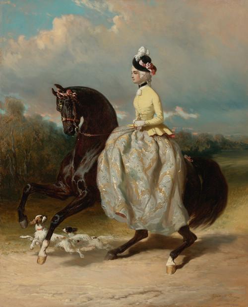 Art Prints of Marie Antoinette on a Prancing Horse by Alfred de Dreux
