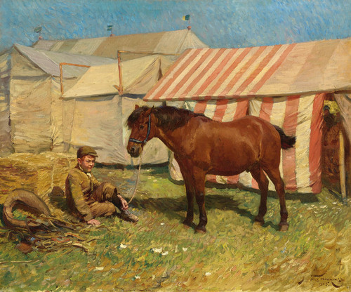Art Prints of Behind the Tents by Alfred James Munnings