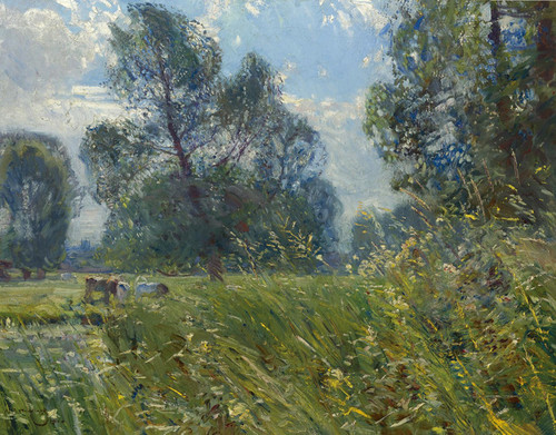 Art Prints of Landscape with Cows by Alfred James Munnings