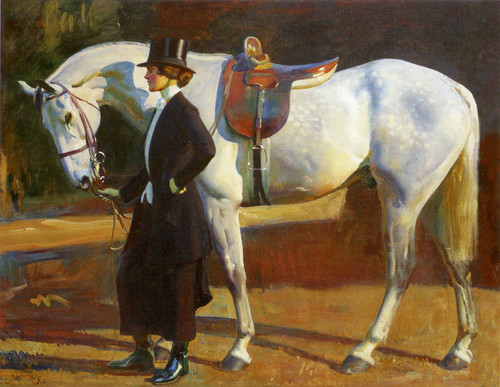 Art Prints of The Artist's Wife and Isaac by Alfred James Munnings