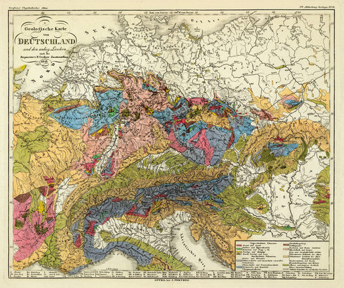 Map Of Germany To Print.Geological Map Of Germany 1843 2515039 By Heinrich Berghaus Fine Art Print