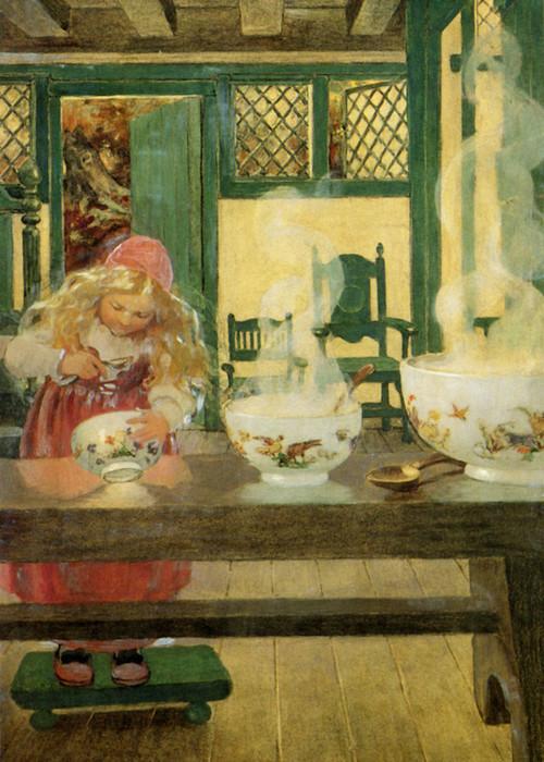 Art Prints of Goldilocks & the Three Bowls by Jessie Willcox Smith